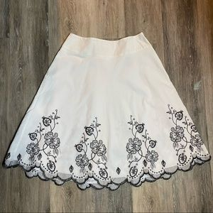 Jessica Black and White Embroidered Skirt